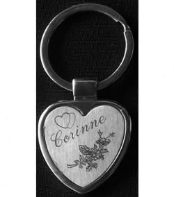 Porte-clefs coeur chromé Brossé