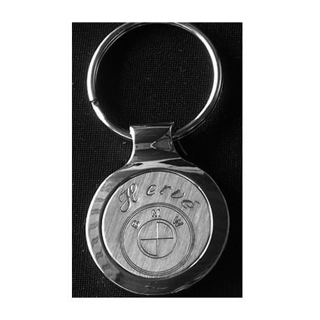 Porte-clefs rond Brossé Chromé